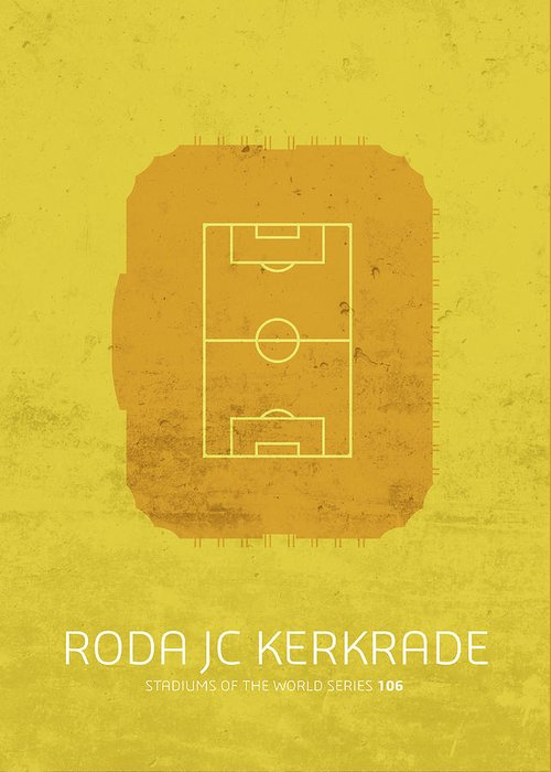 Roda Greeting Card featuring the mixed media Roda Jc Kerkrade Stadium Football Soccer Minimalist Series by Design Turnpike