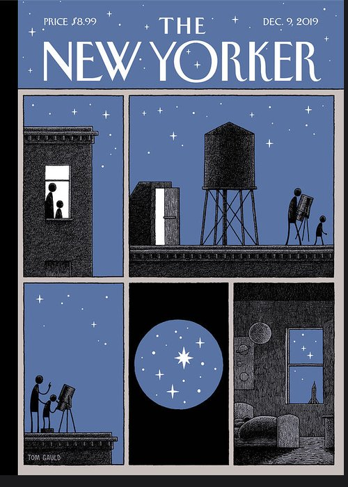 Rooftop Astronomy Greeting Card featuring the drawing Rooftop Astronomy by Tom Gauld