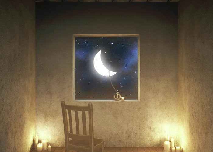 Surreal Greeting Card featuring the digital art Room With a View Night by Cynthia Decker