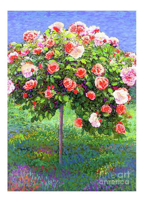 Landscape Greeting Card featuring the painting Rose Tree Reverie by Jane Small