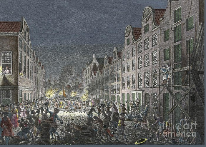 1751 Greeting Card featuring the drawing Rotterdam Riot, 1751 by Simon Fokke