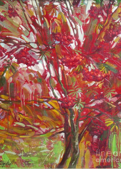 Oil Greeting Card featuring the painting Rowan tree by Sergey Ignatenko