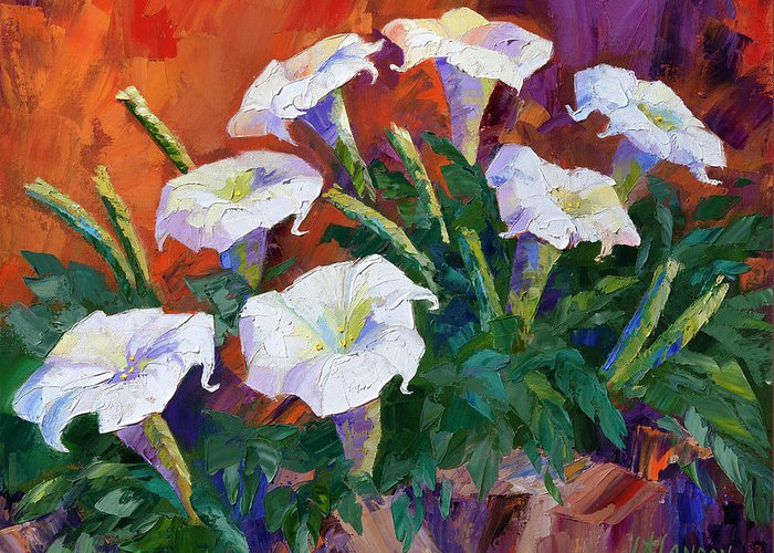 Desert Flower Greeting Card featuring the painting Sacred Datura by Linda Star Landon
