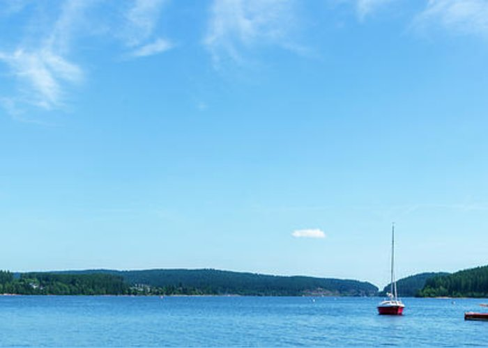 Color Greeting Card featuring the photograph Sailboats On The Lake Schluchsee by Vicen Photography