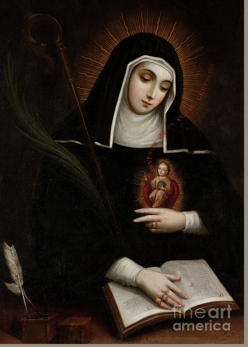 Saint Gertrude Greeting Card featuring the painting Saint Gertrude, Santa Gertrudis, 1763 by Miguel Cabrera