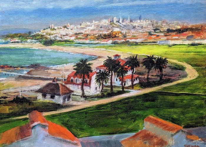 California Greeting Card featuring the painting San Francisco From Crissy Field Overlook by Peter Salwen