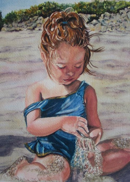 Beach Greeting Card featuring the painting Sand by Karen Ilari