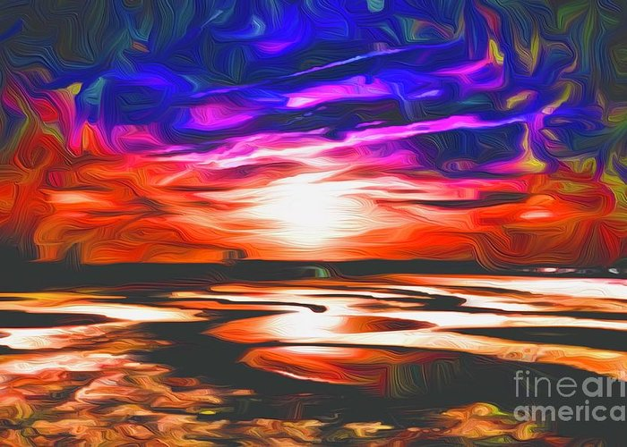 Landscape Greeting Card featuring the digital art Sands Beach by Michael Stothard