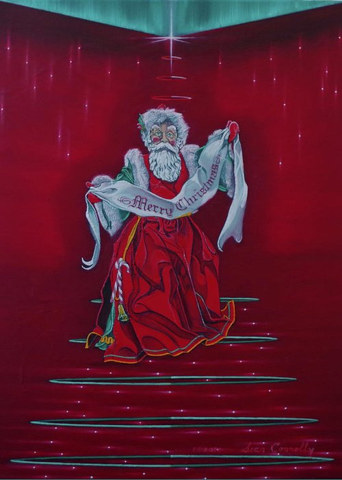 Christmas Greeting Card featuring the painting Santa Claus - Top Of The World by Sean Connolly
