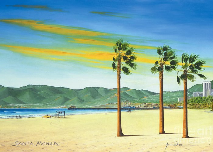 Santa Monica Greeting Card featuring the painting Santa Monica by Jerome Stumphauzer