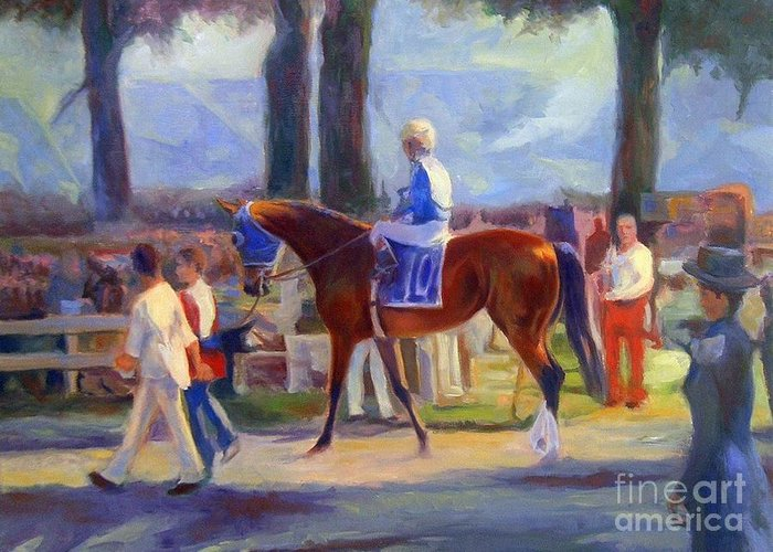 Horse Greeting Card featuring the painting Saratoga Morning by Jeanne Newton Schoborg