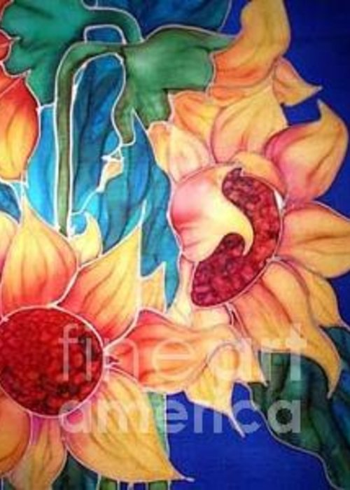 Silks Greeting Card featuring the painting Sassy Sunflowers by Francine Dufour Jones