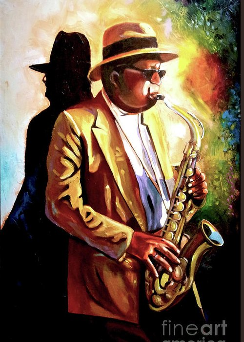 Sax Greeting Card featuring the painting Sax Player by Jose Manuel Abraham