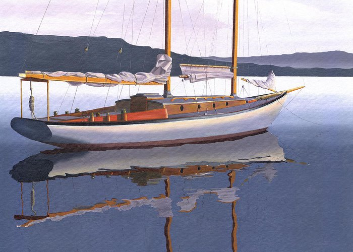 Schooner Greeting Card featuring the painting Schooner at dusk by Gary Giacomelli