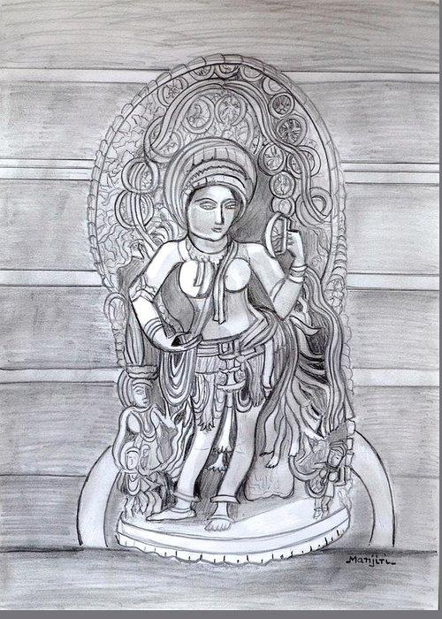 Sculpture Greeting Card featuring the drawing Sculpture pencil drawing of Madanika Chennakesava temple Karnataka by Manjiri Kanvinde
