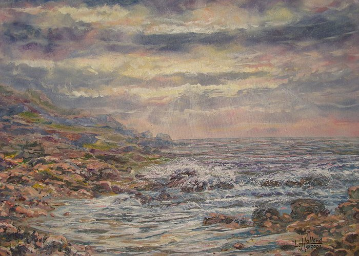 Landscape Greeting Card featuring the painting Seascape With Clouds. by Leonard Holland