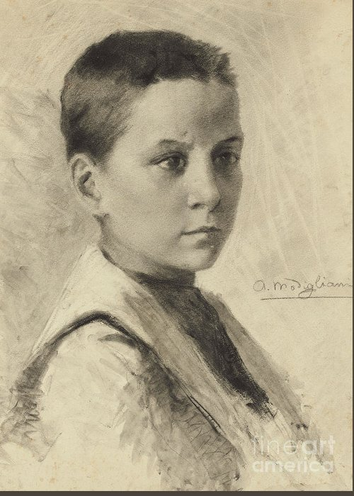 Charcoal On Paper Greeting Card featuring the drawing Self-portrait, 1899 by Amedeo Modigliani