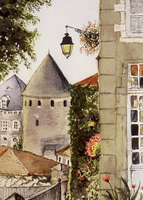 France Greeting Card featuring the painting Semur en Auxois by Mary Ellen Mueller Legault