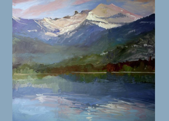 Murals Greeting Card featuring the painting Shadows of Winter, Chimney Rock, Priest Lake by Betty Jean Billups
