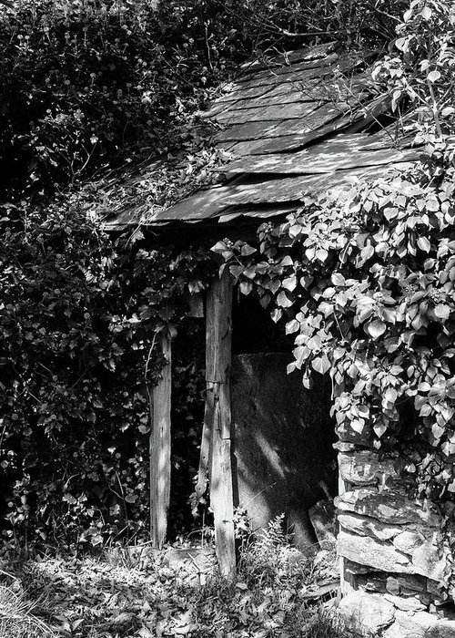 Black And White Greeting Card featuring the photograph Shed - Retired by Bear R Humphreys