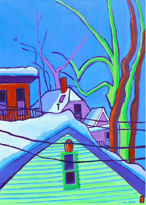 Buildings Greeting Card featuring the painting Sheffield Winter by Debra Bretton Robinson