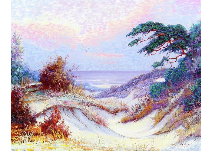Tree Greeting Card featuring the painting Shimmering Sands by Jane Small