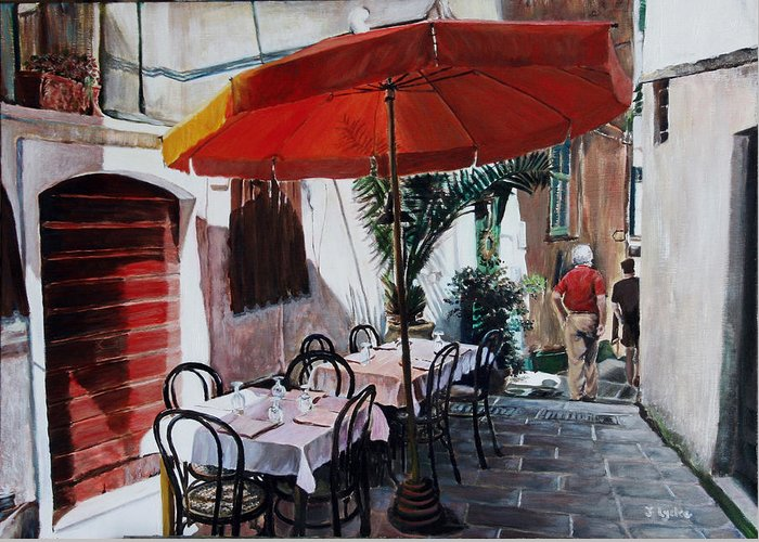 Cafe Greeting Card featuring the painting Red Umbrella Outdoor Cafe by Jennifer Lycke