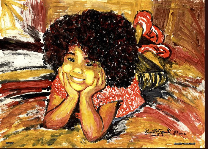 Everett Spruill Greeting Card featuring the painting Simone by Everett Spruill