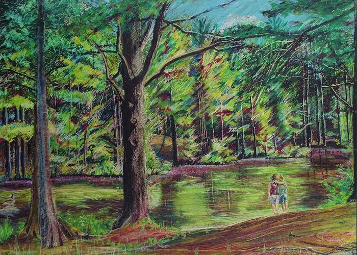 Family Greeting Card featuring the pastel Sisters At Wason Pond by Sean Connolly