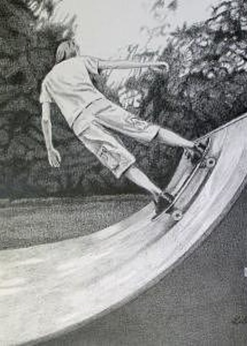 Portrait Of A Young Man On His Skateboard Greeting Card featuring the drawing Skateboarder by Ben Liles