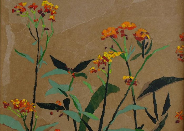 Floral Recycled Collage Greeting Card featuring the painting Smith Garden by Leah Tomaino