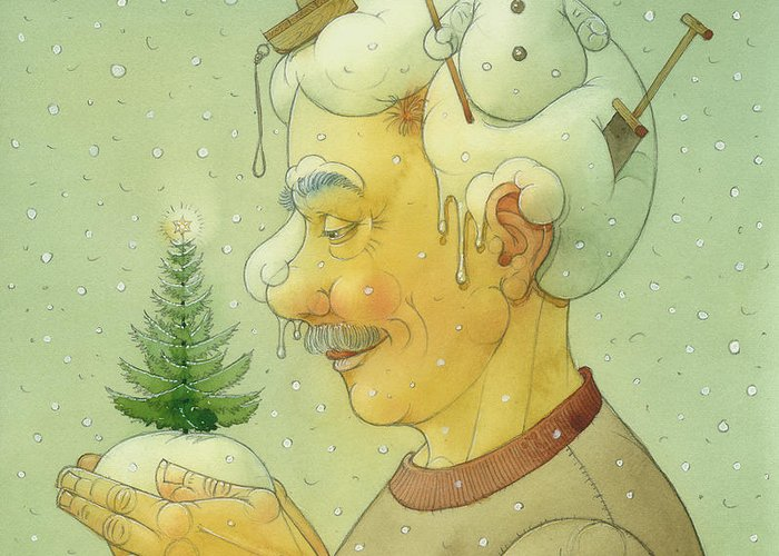 Winter Snow Figure Christmas Tree Holiday Greeting Card featuring the painting Snovy Winter by Kestutis Kasparavicius
