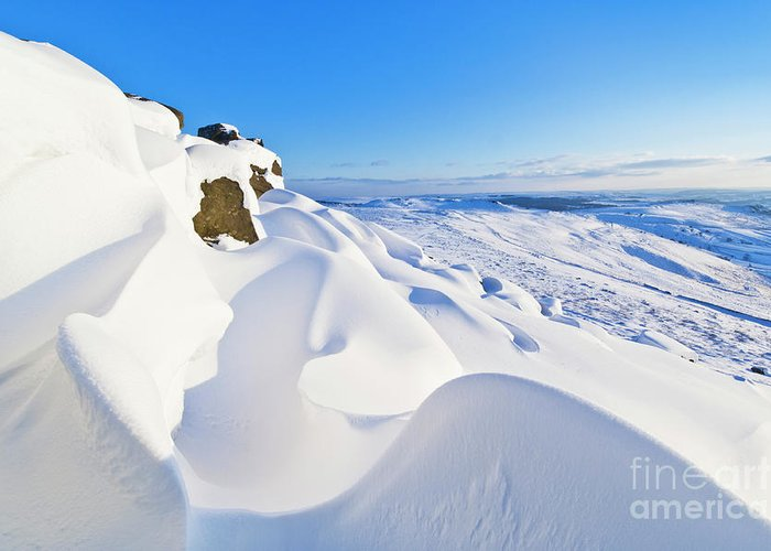 Snow Landscape Greeting Card featuring the photograph Snow Drifts On Stanage Edge, Peak District, England by Neale And Judith Clark