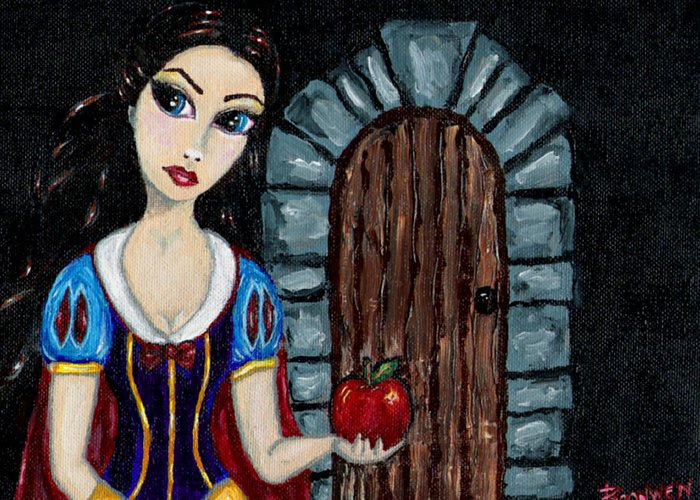 Fairy Tale Greeting Card featuring the painting Snow White Considers The Apple by Bronwen Skye