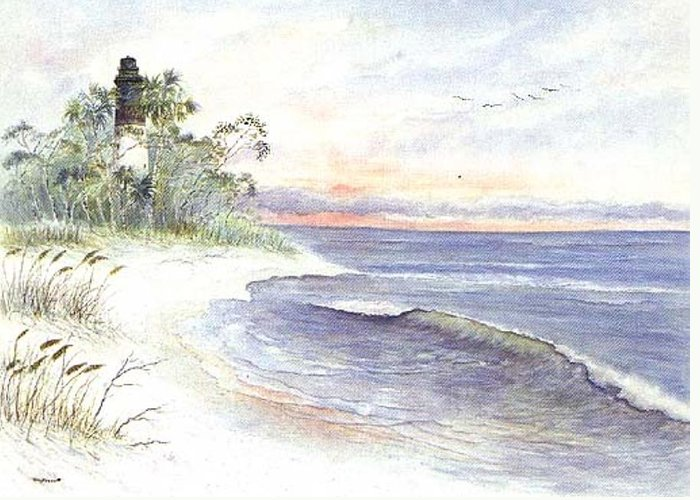 Lighthouse Greeting Card featuring the painting Solitude by Ben Kiger