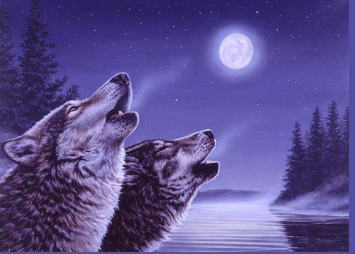 Wolf Greeting Card featuring the painting Song of the North by Richard De Wolfe
