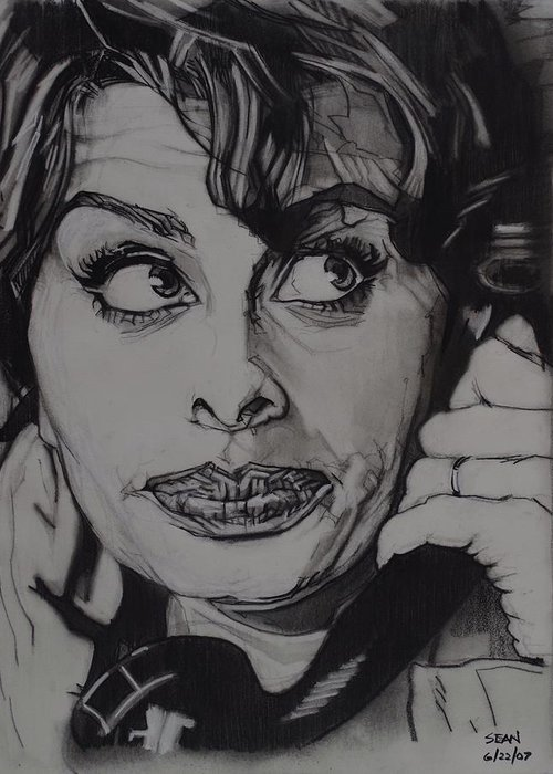 Charcoal On Paper Greeting Card featuring the drawing Sophia Loren Telephones by Sean Connolly