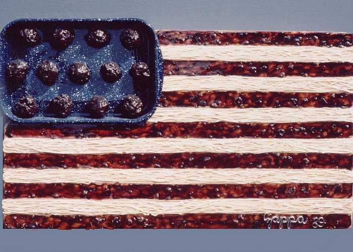 Czappa Greeting Card featuring the relief Speggetti Flag by Bill Czappa