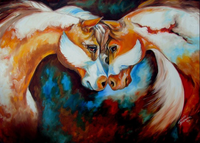 Horse Greeting Card featuring the painting Spirit Eagle 2007 by Marcia Baldwin