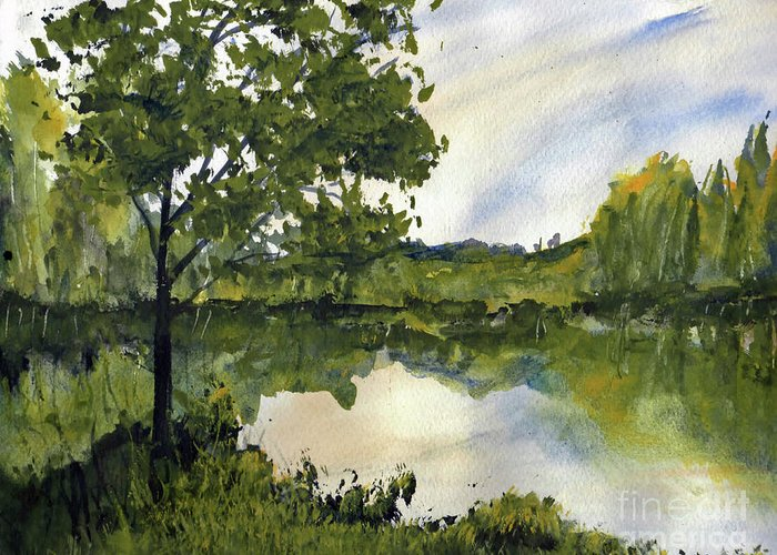 Suwannee Greeting Card featuring the painting Spring Comes Slowly on the Suwannee River by Randy Sprout