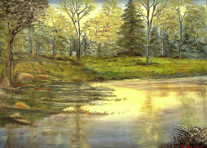 Landscape Trees Lake Reflections Greeting Card featuring the painting Spring Time by Kenneth LePoidevin