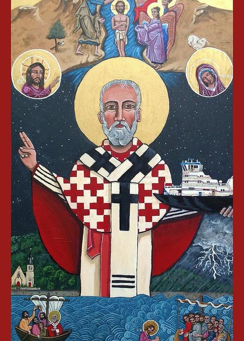 Greeting Card featuring the painting St. Nicholas Patron of Mariners by Kelly Latimore