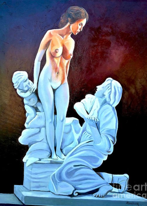 Women Greeting Card featuring the painting Statue 2 by Jose Manuel Abraham