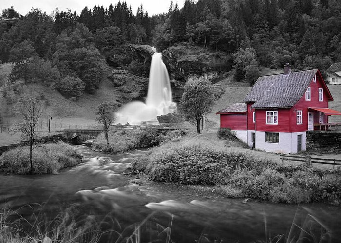 Greeting Card featuring the photograph Steinsdalsfossen by Pop