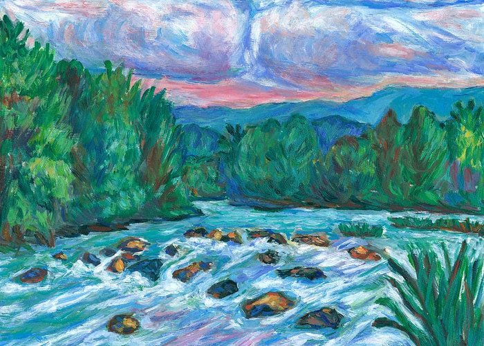 Landscape Greeting Card featuring the painting Stepping Stones on the New River by Kendall Kessler