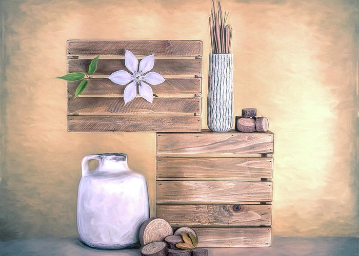 Jug Greeting Card featuring the photograph Still Life With Wood by Tom Mc Nemar