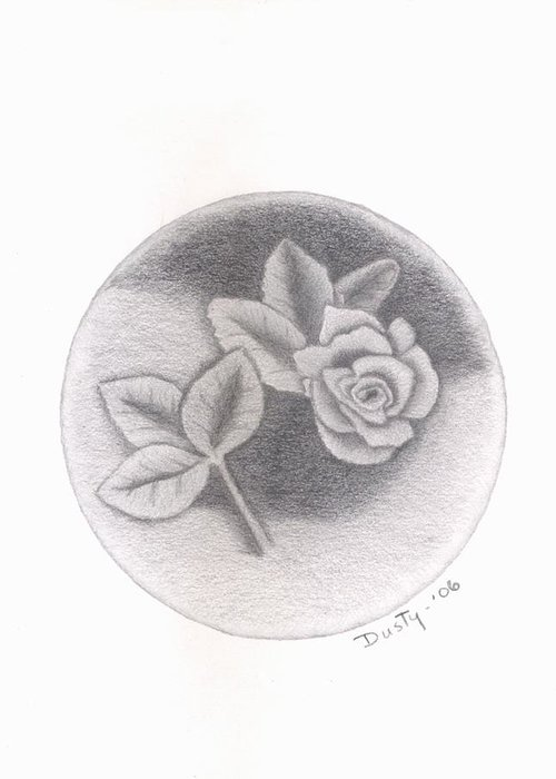 Rose Greeting Card featuring the drawing Stone Rose by Dusty Reed