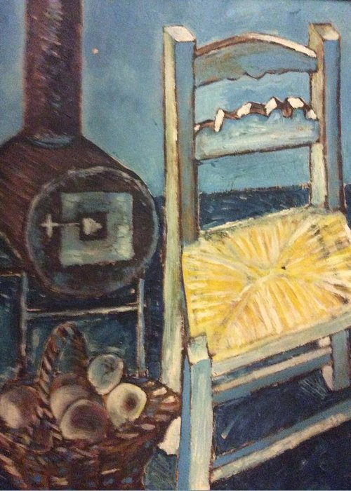 Interior Greeting Card featuring the painting Stove and chair by Biagio Civale