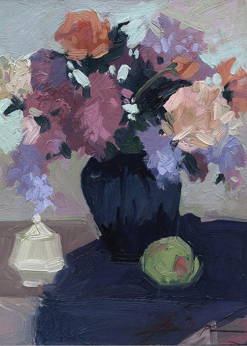 Still Life Greeting Card featuring the painting Study in Daylight by Betty Jean Billups