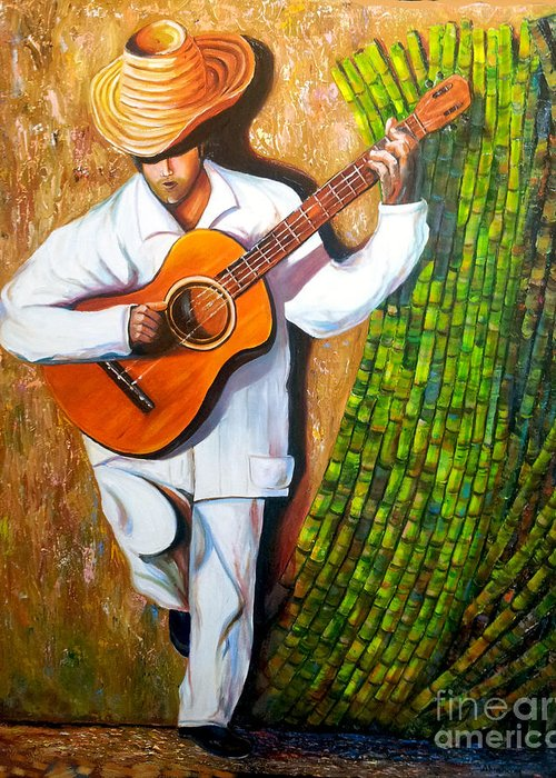 Cuban Art Greeting Card featuring the painting Sugarcane Worker by Jose Manuel Abraham